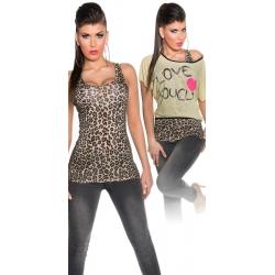 Top + tielko leopard