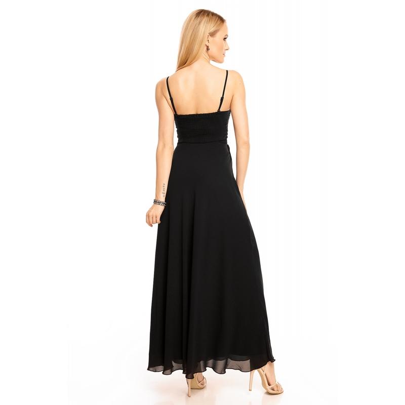 a91863b92f9f dlhé čierne šaty s trblietkami aplikácia na ramienka