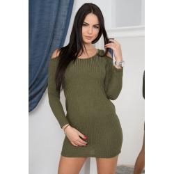 Tunika/šaty  s odhalenými ramenami tm.olivovo zelená