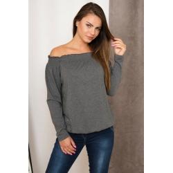 Tričko / Top s odhalenými ramenami grafitová sivá