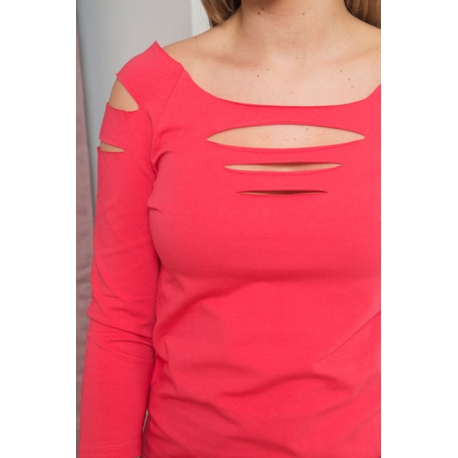 Tričko /top s rozparkami  na ramenách a dekolte  raspberry