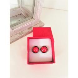 Porcelánové náušničky veľké červené perleťové