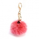 Fluffy šedá/ružová ozdoba na kabelku,kľúče..