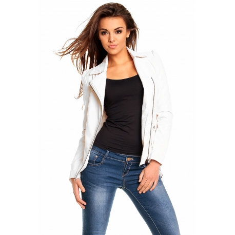 Biela koženková bunda