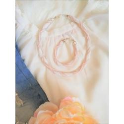 Náhrdelník vzorový bielo -ružová
