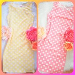 Bodkované šaty Sydney žlté/ružové