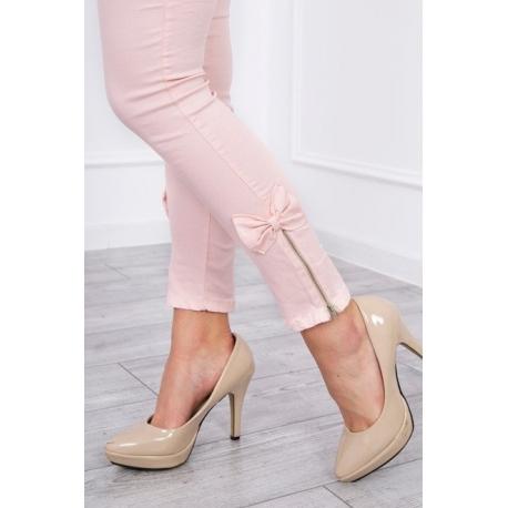 Riflové nohavice so zipsom a mašličkou